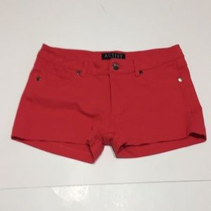 Red stretch shorts